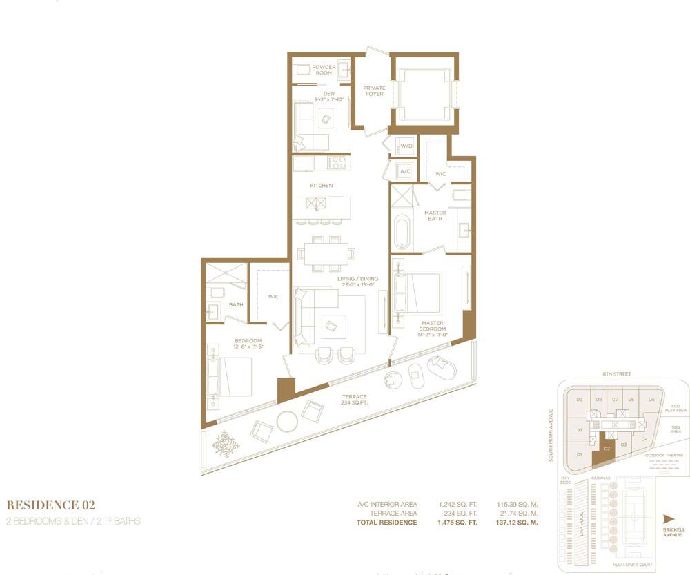 2 Bedroom Apartment For Sale In Brickell City Center Miami Florida 137 Sq M