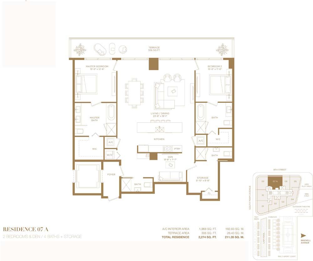2 Bedroom Apartment For Sale In Brickell City Center Miami Florida 211 Sq M