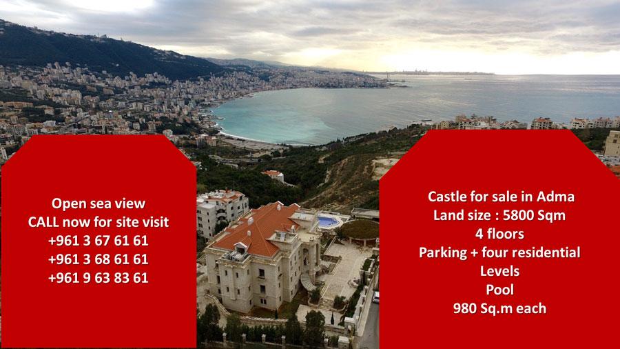 Palace for sale in adma keserwan lebanon- real estate in lebanon- buy sell properties in adma lebanon